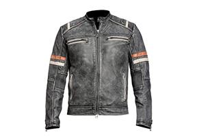 Retro 1 Hombre Cafe Racer estilo vintage con aspecto envejecido Motociclista Motocicleta Chaqueta De Cuero Negro